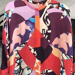 ETRO Multi Color 100% Silk Long Sleeve Blouse